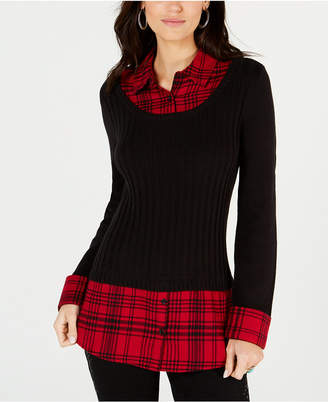Style&Co. Style & Co Plaid Layered-Look Ribbed Sweater Top