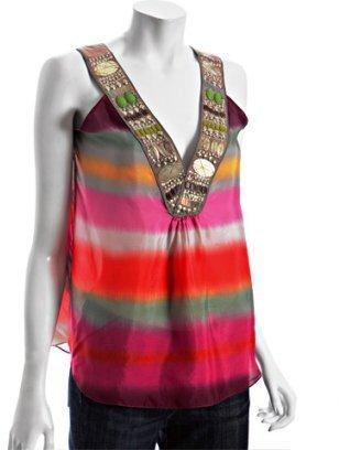 Chelsea Flower khaki tie-dye striped silk beaded v-neck tank