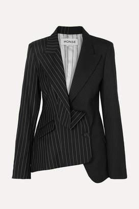 Monse Asymmetric Paneled Pinstriped Wool Blazer - Black