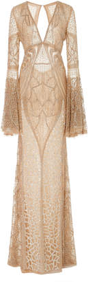 Naeem Khan Bead Embroidered Flared Sleeve Gown