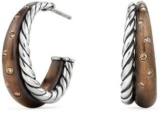 David Yurman Pure Form Mixed Metal Hoop Earrings with Cognac Diamonds, Bronze & Sterling Silver