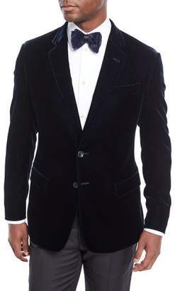 Giorgio Armani Men's Velvet Two-Button Sport Coat Jacket, Navy