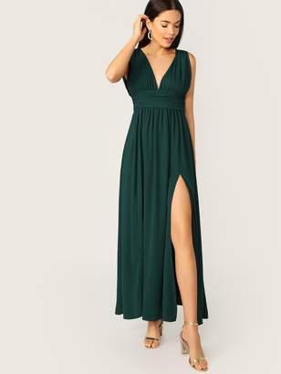 Shein Plunging Neck Zip Back High Split Ruched Dress