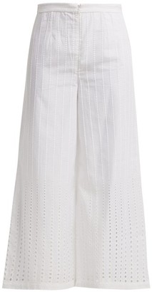 Le Sirenuse Le Sirenuse, Positano - Natalie Stripe Embroidered Twill Trousers - Womens - White