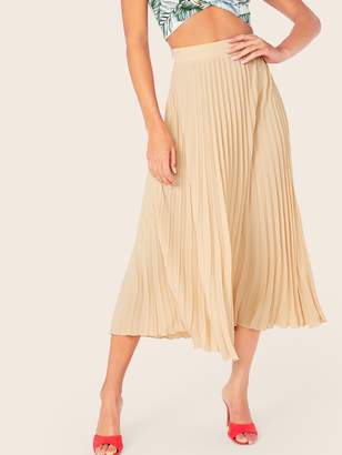 Shein Zipper Side Fit & Flare Pleated Skirt