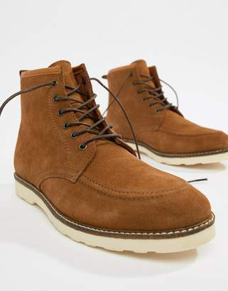 12a802dc0ff Asos Design DESIGN lace up boots in tan suede with white wedge sole