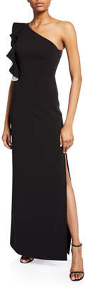 Halston Flounce One-Shoulder Crepe Column Gown with Slit