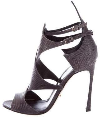 Sergio Rossi Leather Embossed Sandals