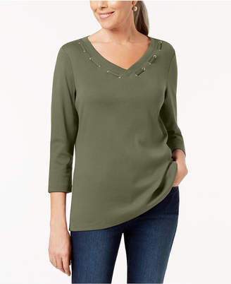 Karen Scott 3/4-Sleeve Cotton Grommet-Detail Top
