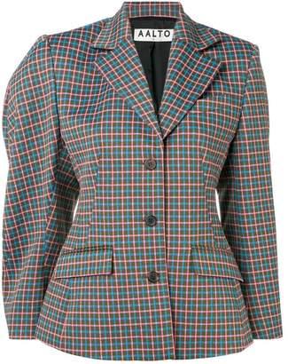 Aalto asymmetric check pattern blazer