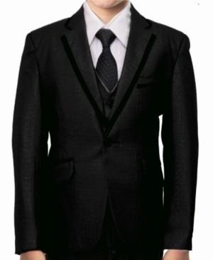 Tazio Satin Trim 1 Button Front Closure Boys Suit, 5 Piece
