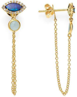 Meira T 14K Yellow Gold Milky Aquamarine, Opal & Diamond Draped Chain Stud Earrings