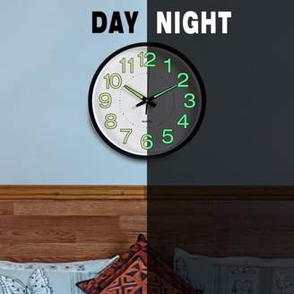 """Mrosaa 12"""" Wall Clock Glow In The Dark with Silent Non-Ticking Night Lights for Indoor Kitchen/Living Room of Large Number Battery Operated"""