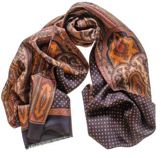 Black Fusaro Italian Reversible Silk Scarf