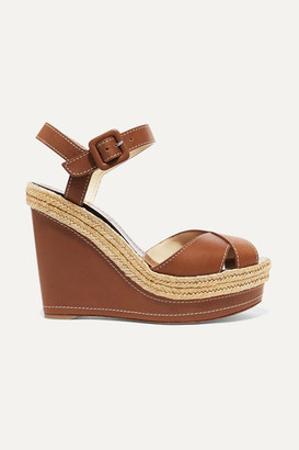 Christian Louboutin Almeria 120 Leather Espadrille Wedge Sandals - Brown