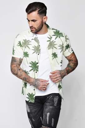 boohoo Palm Tree Print Revere Short Sleeve Shirt