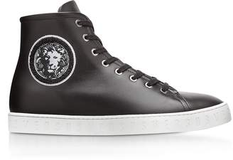 Versace Versus Black Leather High Top Men's Sneakers w/Embroidered Lion Head Logo