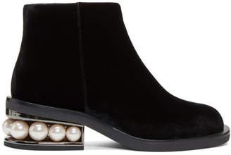 Nicholas Kirkwood Black Velvet Casati Pearl Boots