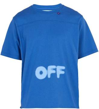 Off-White Off White Printed Cotton Jersey T Shirt - Mens - Blue