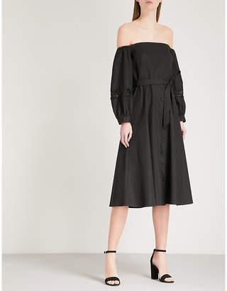 Claudie Pierlot Lace-detail off-the-shoulder cotton-poplin dress
