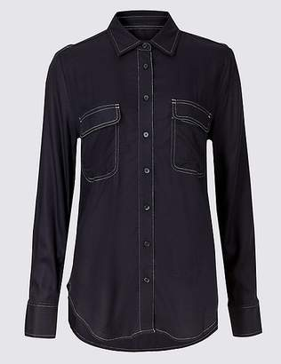 Marks and Spencer Contrasting Stitch Long Sleeve Shirt