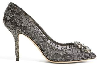 Dolce & Gabbana Bellucci Crystal Embellished Lace Pumps - Womens - Dark Grey