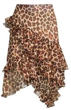 Caroline Constas Leoaprd-Print Tiered Ruffled Silk A-Line Skirt