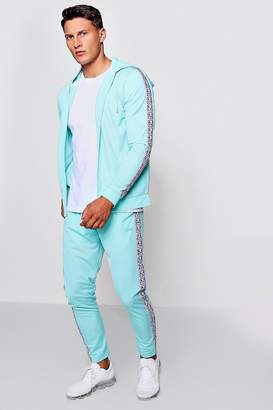boohoo MAN Zip Through Tracksuit With Side Tape