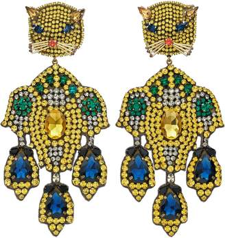 Gucci Feline head earrings with crystal embroidery