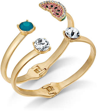 INC International Concepts I.N.C. Gold-Tone 2-Pc. Set Multi-Stone & Watermelon Bangle Bracelets, Created for Macy's