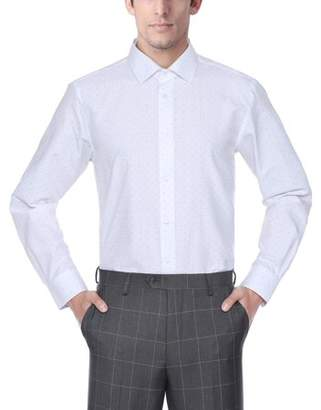Verno Fashion Mens Printed Bow Tie Classic Fit Long Sleeve White Dress Shirt