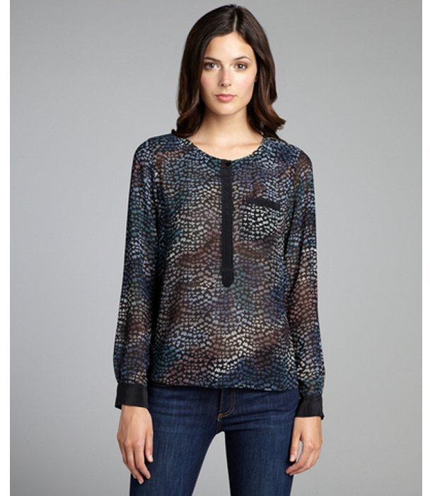 Rebecca Taylor black ombre leaf print chiffon long sleeve blouse