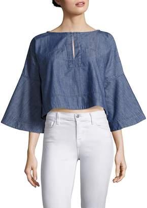 Apiece Apart Women's Tzila Bell Sleeve Chambray Top