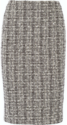 Alexander McQueen - Cotton And Wool-blend Tweed Pencil Skirt - Black $675 thestylecure.com