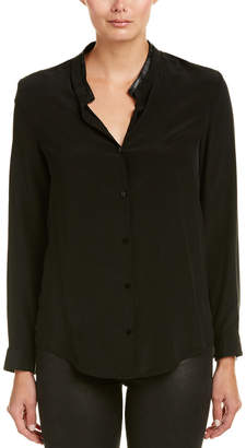 The Kooples Leather-Trim Crepe Silk Shirt