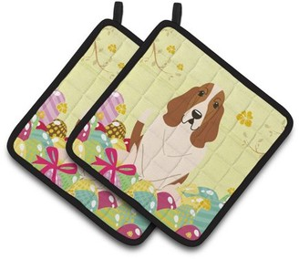 Caroline's Treasures Easter Eggs Basset Hound Pair of Pot Holders