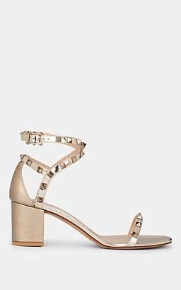 Valentino Women's Rockstud Leather Ankle-Strap Sandals - Nudeflesh