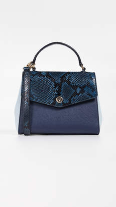 Tory Burch Robinson Mixed Material Top Handle Satchel