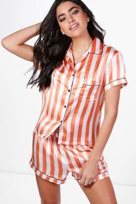 boohoo Laura Stripe Short and Shirt PJ Set