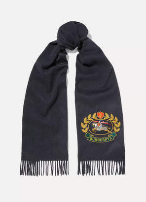 Burberry Fringed Embroidered Cashmere Scarf - Navy