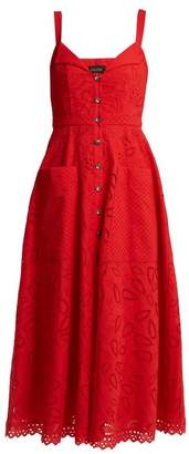 Saloni Fara Broderie Anglaise Cotton Midi Dress - Womens - Red