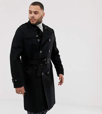 Asos Design DESIGN Plus shower resistant longline trench coat with belt in black