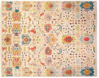F.J. Kashanian 8'x10' Sari Wool Liam Rug - Ivory/Blue