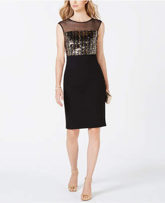 Vince Camuto Sequined Illusion Sheath Dress