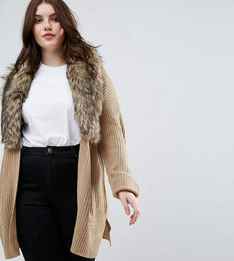Brave Soul Plus Hawk Cardigan With Detachable Fur Collar