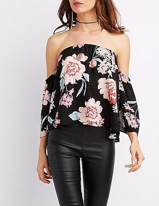Floral Off-The-Shoulder Bell Sleeve Top $22.99 thestylecure.com