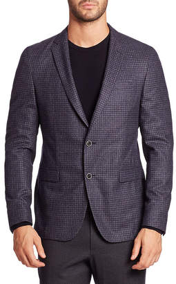 Saks Fifth Avenue Micro Check Wool Jacket