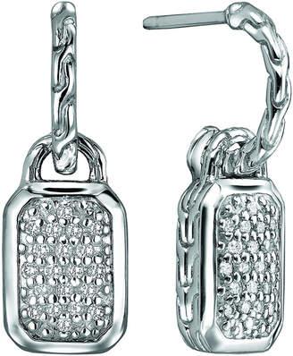 John Hardy Silver Drop Earrings with Diamonds