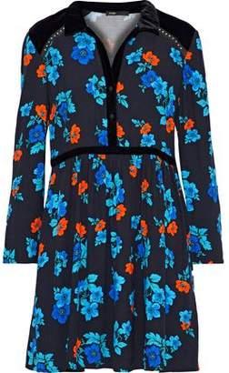 Maje Velvet-Paneled Floral-Print Crepe Mini Shirt Dress