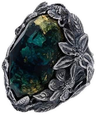Lyly Erlandsson blue Winter Leaf engraved stone ring